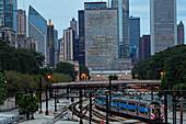 Millenium Station and skyscraper at Randolph Street, Chicago, Illinois, USA