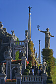 Statues and sculptures in the Garden of the baroque Palazzo Borromeo, Isola Bella, Lago Maggiore, Piedmont, Italy