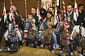 Donkey-riding competion during the Palio di Alba, Piazza Risorgimento, Alba, Piedmont, Italy