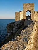 Medieval fortress on Cape Kaliakra, Black Sea, BulgariaKaliakra  is a long and narrow headland in the Southern Dobruja region of the northern Bulgarian Black Sea Coast, located 12 km east of Kavarna and 60 km northeast of Varna. The coast is steep with ve