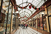 Passage Panoramas with pre-Christmas decoration, Paris, France