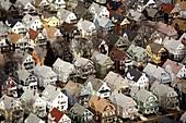Neighborhood housing, Somerville, aerial, Boston, Massachusetts, USA