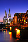 View over river Rhine towards Cologne cathedral and the Hohenzollern Bridge, Cologne, Rhine river, North Rhine-Westphalia, Germany