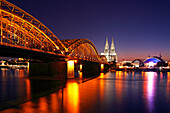 View over Rhine river to Hohenzollern Bridge, cathedral, railway station and Musical-Dome, Cologne, Rhine river, North Rhine-Westphalia, Germany