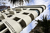 Original Bauhaus building under clouded sky, Tel Aviv, Israel, Middle East