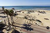 Panorama of Gordon Beach and the Tayelet seaside promenade, Tel Aviv, Israel, Middle East