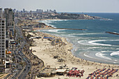 View at the Tayelet seaside promenade and the beaches, looking south to Jaffa, Tel Aviv, Israel, Middle East