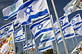Israeli flags in the wind on Independence Day, Tel Aviv, Israel, Middle East