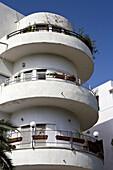 View at original Bauhaus building, Frug Street, Tel Aviv, Israel, Middle East