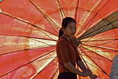 Asian woman with market umbrella, South Laos, Laos, Asia