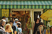 People and shop at the market, Aix-en-Provence, Provence, France, Europe