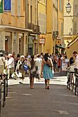 People in a street at the pedestrian area, Aix-en-Provence, Provence, France, Europe