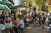 People at the street cafe Les Deux Garcons, Cours Mirabeau, Aix-en-Provence, Provence, France, Europe
