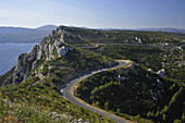 Corniche des Cretes, landscape with country road and sea, Calanques, Provence, France, Europe