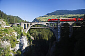Train passing Solis Viaduct, Schin gorge, Canton of Grisons, Switzerland