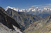 View to Mont Blanc massif, Aosta valley, Italy