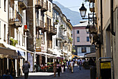 Street scenery in old town, Aosta, Aosta valley, Italy