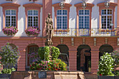 Röhrbrunnen (well) on the market place and the town hall at the town of Gengenbach, Partial view, Summer, Gengenbach, Ortenaukreis, Black Forest, Baden-Wuerttemberg, Germany, Europe