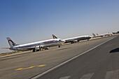 Royal Air Maroc jets on the tarmac at Marrakech Menara Airport, Morocco, Africa
