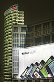 Potsdamer Platz with the Bahn Tower and large advertisement, Berlin Mitte, Berlin, Germany