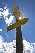 Signpost, Wurzeralm, Totes Gebirge, Upper Austria, Austria