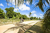 Woman cycling between palm trees, Madagaskar