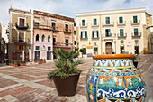 View at ceramic vase and houses at square Piazza Duomo, in Sciacca, Province Agrigento, Sicily, Italy, Europe