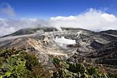 Crater of the Poas Volcano, Poas National Park, Costa Rica, Central America