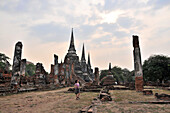The ruins of Wat Phra Sri Sanphet temple in the evening, old kingdomtown Ayutthaya, Thailand, Asia