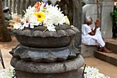 Flower offerings at the Kelaniya Raja Maha Vihara temple, Colombo, Sri Lanka, Asia