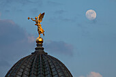 Angel on the top of the dome of the Lipsius building, Dresden, Saxony, Germany
