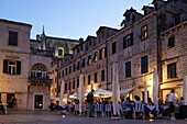 Bars and Restaurants in old city Center of Dubrovnik in the evening, Croatia