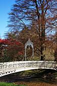 Wrought-iron bridge crossing the Oos rivulet, Lichtental alley, Baden-Baden, Black Forest, Baden-Württemberg, Germany