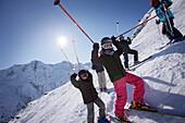 Children skiing, Silvretta, Galtuer, Paznaun valley, Tyrol, Austria