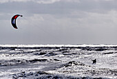 Person kite surfing, North Sea Beach in Westerland, Sylt, Schleswig-Holstein, Germany