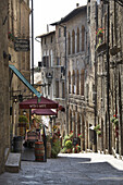 Volterra cafe, alley in Italy