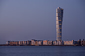 View of the Turning Torso tower in the evening, Malmo, Scania, Sweden, Europe