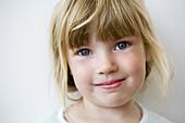 Close up of a blond little girl