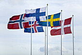 Flags of the scandinavian countries (Sweden, Finland, Denmark, Norway and Iceland)