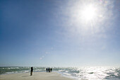 People on the beach, the farthest headland where Skagerrak and the Kattegatt meet, Skagen, Jutland, Denmark