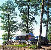 Trailer by lake, Skane, Sweden