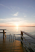 Bathing platform in sunset, Klitterhus, angelholm, Skane, Sweden