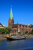Historic ship at Martini pier at the Weser river, used as restaurant Pannekoekschip Admiral Nelson, Hanseatic City of Bremen, Germany, Europe