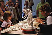 Demonstration at Meissen porcelain manufacture with visitors, Meissen, Saxony, Germany, Europe
