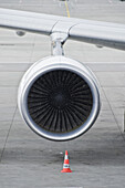 Engine of an airplane, Munich airport, Bavaria, Germany