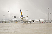Airline on airfield, Munich airport, Bavaria, Germany