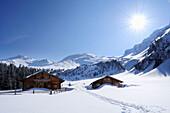 Snow-covered alpine huts, Rauriser Tal valley, Goldberggruppe mountain range, Hohe Tauern mountain range, Salzburg, Austria