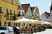 Row of houses with cafes, Altmuehltal cycle trail. Altmuehl valley cycle trail, Beilngries, Eichstätt, Bavaria, Germany