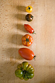 Different coloured tomatoes in a line, Healthy food, Vegetable, Fruit