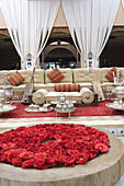 Living room area with sofa and rose petals, Hotel, Agadir, Morocco, North Africa, Africa